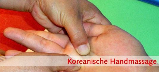 Koreansiche Handmassage, Hand Massage, Akupressurpunkte, Akupressur der Meridiane, Moxibustion, Therapieausbildung